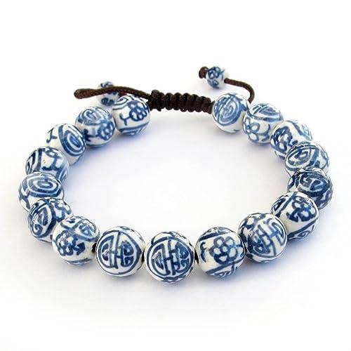 Ovalbuy 11mm Vintage Style Porcelain Beads Buddhist Wrist Mala Bracelet