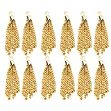 Iron Tassel Pendant Charms for Jewelry Bag Craft Key Chain Decor Pack of 12 Gold