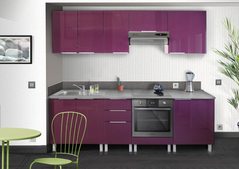 good facade cuisine violet aubergine belle cuisine nous a. Black Bedroom Furniture Sets. Home Design Ideas