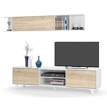 Habitdesign 0F6634BO - Mueble de salón comedor, módulo TV + estante, color Blanco Brillo y Roble Canadian, medidas: 180x54x41 cm de fondo