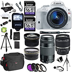 Canon EOS Rebel SL1 Digital SLR with 18-55mm STM Lens (White) + EF 75-300mm f/4-5.6 III + Polaroid Studio Series 58mm Wide Angle & Fixed Telephoto Lenses + 2 Lexar 16GB + Tripod + Filter + Accessories