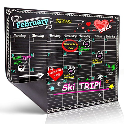 Bigtime Magnetic Refrigerator Calendar Dry Erase Black Flexible Magnet Board Design | Monthly for Kitchen Fridge| Use w/ Fluorescent Liquid Chalk or Neon Markers (12x16 Monthly Calender) (Mini Whiteboard For Fridge compare prices)