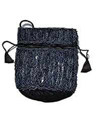 Raun Harman Beaded Pull String Fashionable Black-Grey Bag