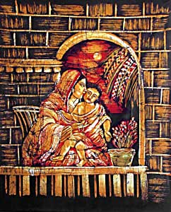 DollsofIndia Mother Mary and Jesus Batik Painting on Cotton Cloth Unframed