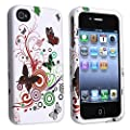eForCity Snap-on Rubber Coated Case Compatible with Apple� iPhone� 4 / 4S, White Autumn Flower