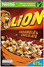 Lion Cereales de trigo y arroz tostados con crema de caramelo y chocolate - 675 gr