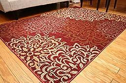 Feraghan/New City Contemporary Modern Floral Flowers Wool Area Rug, 5\' x 8\', Cinnamon/Brown/Beige