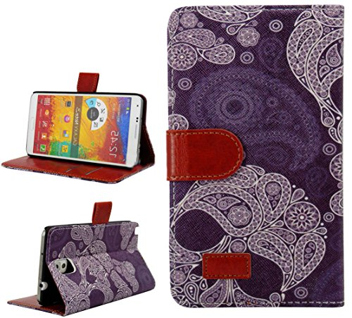 Mylife Midnight Sky Purple + White Paisley {Boho Design} Faux Leather (Card, Cash And Id Holder + Magnetic Closing) Slim Wallet For Galaxy Note 3 Smartphone By Samsung (External Textured Synthetic Leather With Magnetic Clip + Internal Secure Snap In Closu front-48602