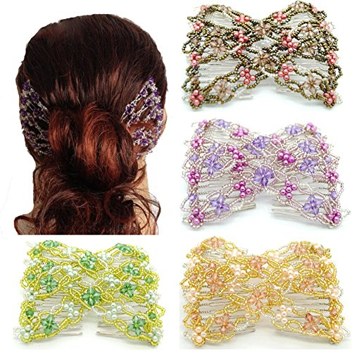 Casualfashion 4pcs Vintage Girls Jewelled Beaded Elastic Double Twin Headwear Magic Hair Comb Clips for Women (Double Comb Hair Clip compare prices)