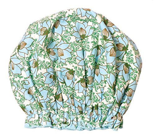 Bath Accessories Bouffant Shower Cap, Lotus Garden Print (Shower Cap Terry Lined compare prices)