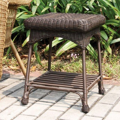 Outdoor Espresso Wicker Patio Furniture End Table image
