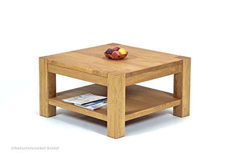 Couchtisch Beistelltisch mit Ablage ,,Rio Bonito,, 80x80cm Höhe 45 cm, Pinie Massivholz, geölt und gewachst, Wohnzimmer Tisch Farbton Honig hell