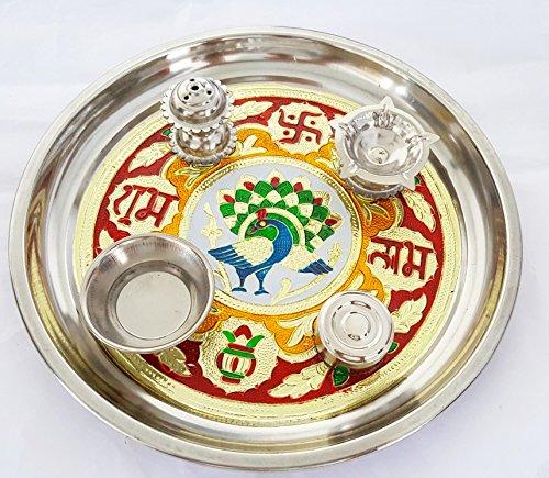 Satya Meenakari Pooja Thali Handmade Rajasthani Artwork Multicolor Material Steel Festivity  available at amazon for Rs.159