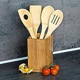 Relaxdays Küchenhelfer Set Bambus 5-teilig je 30 cm als Kochlöffel Set aus Holzlöffel Rührkelle Lochkelle und Pfannenwender mit Halter HBT 16 x 10 x 10 cm als Kochbesteck Küchenutensilien, natur -