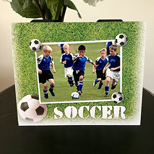 Soccer Grass coach mom dad team captain customized gift handmade magnetic picture frame holds 5