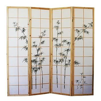 Trovare sconto Paravento in legno e bambù naturale con disegno ...