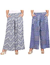 Rama Set Of 2 Printed Blue & White Colour Rayon Palazzo
