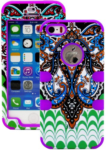 Mylife (Tm) Violet Purple - Retro Paisley Series (Neo Hypergrip Flex Gel) 3 Piece Case For Iphone 5/5S (5G) 5Th Generation Itouch Smartphone By Apple (External 2 Piece Fitted On Hard Rubberized Plates + Internal Soft Silicone Easy Grip Bumper Gel + Lifeti