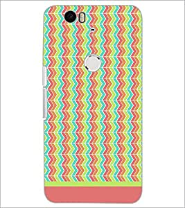 PrintDhaba Zig Zag Pattern D-1701 Back Case Cover for HUAWEI NEXUS 6P (Multi-Coloured)