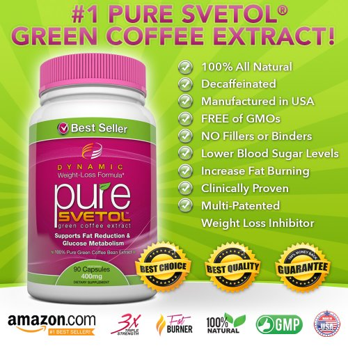 #1 NEW PURE SVETOL Green Coffee Bean Extract - 90 Vegetarian Capsules - The ONLY Product with 400 mg of 100% Pure Clinically-Proven Svetol in Every Capsule - Special Form Scientifically Evaluated for Quick Results - Take 2 for 800 mg of Powerful Weight Loss - Full 30-Day Supply with Every Bottle