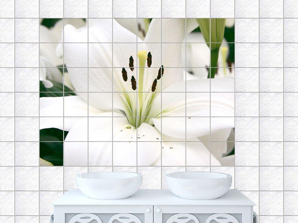 Fliesenaufkleber Fliesen Dekoration Sticker Fliesenfolie Bad Küche WC Blume weißer Lilien Strauss Fliesengröße 15x20cm (Anzahl Fliesen = 12 breit und 6 hoch)   Kritiken und weitere Infos