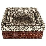 Eshow Rattan Aufbewahrungsbox Set Ordnungssystem Kisten Aufbewahrungskiste Dekobox Schubladen-Organizer-Set