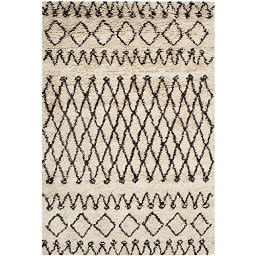 Safavieh Casablanca Collection CSB851A Handmade Ivory and Natural Wool Area Rug, 3 feet by 5 feet (3' x 5')