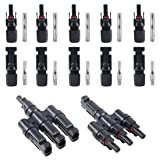 Glarks Solar Panel Connectors 1 Male to 3 Female and 1 Female to 3 Male T Branch Connectors Cable Coupler Combiner and 5 Pair Male/Female Solar Panel Cable Connectors Set (M/3F and F/3M)