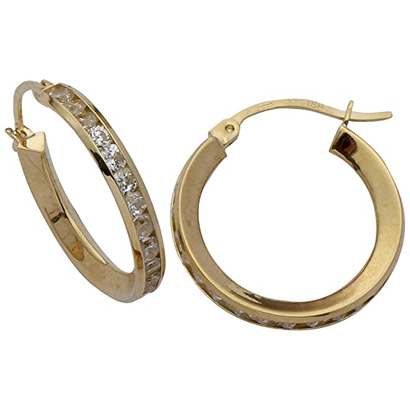 Adara 9 ct Gold Cubic Zirconia Hoop Earrings