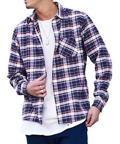 マイノリティセレクト(MinoriTY SELECT) ネルシャツ メンズ チェック ネル シャツ 長袖 赤 黒 M M柄(25)
