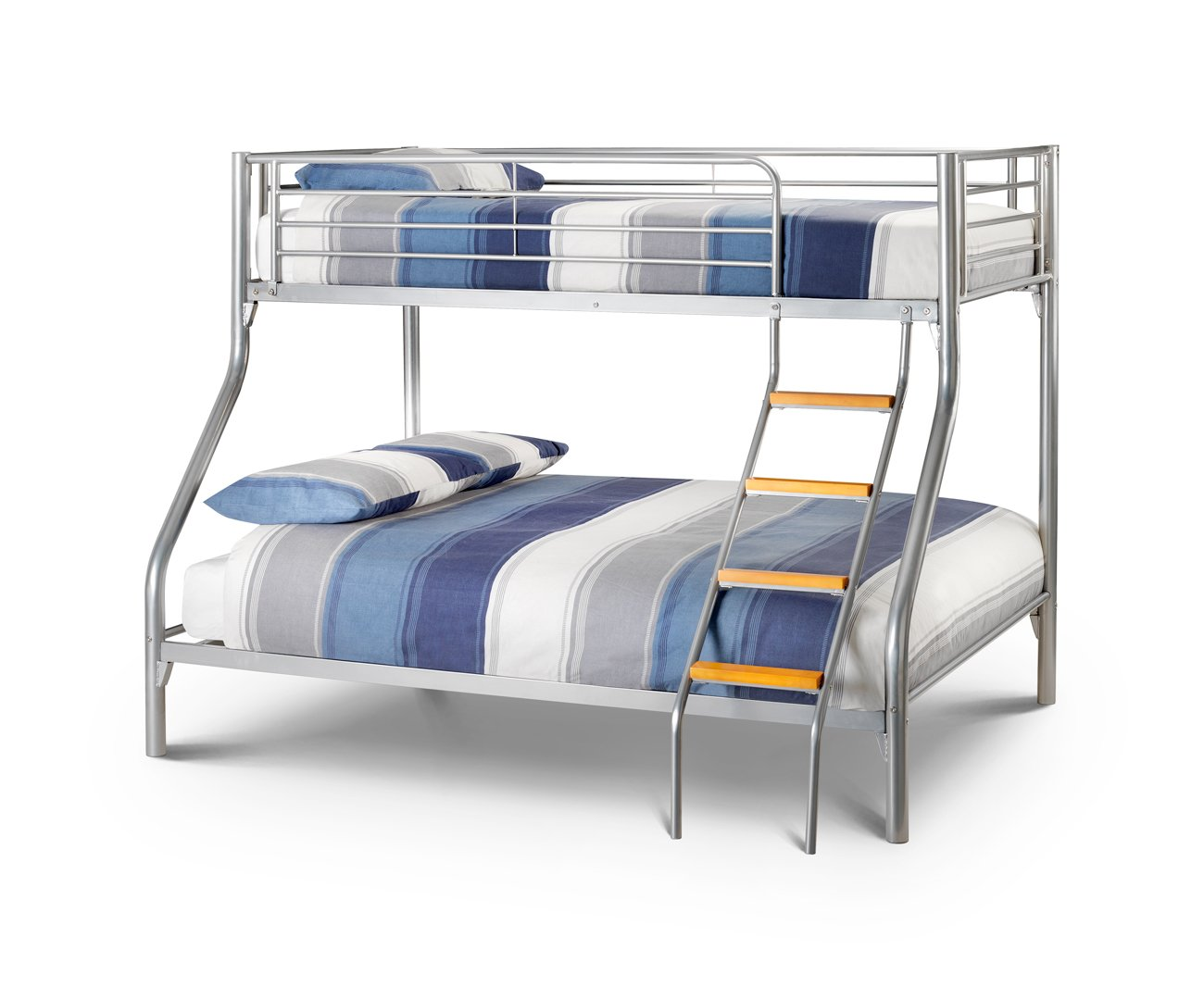 Happy Beds Bunk Bed Atlas Triple Sleeper Solid Metal With 2x Memory Foam Mattresses 3&' Single 90 x 190 cm 4&'6&'&' Double 135 x 190 cm       Customer review and more information