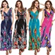 Yummy Bee Maxi Dress Summer Evening Print Party Floral Ladies Long Plus Size 10 12 14 16 18 20 22 Black Green Pink Purple (3XL, Black)