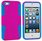 myLife Hot Pink + Light Blue Survivor Slim (Layered Mesh Armor) 2 Piece Case for iPhone 5/5S (5G) 5th Generation iTouch Smartphone by Apple (External Durable Hard Rubberized Easy Grip Mesh Plating + Internal Fitted Soft Silicone Bumper Gel)