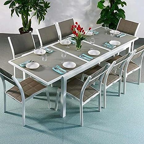 Florence Tisch & 8 Stuhle - WEIß & CHAMPAGNERFARBEN | Gartenmöbel-Set mit ausziehbarem 240cm Tisch