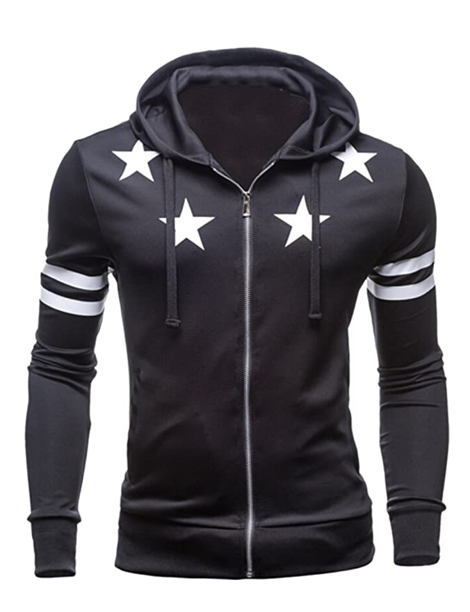 Vska Men's Casual Stripe Sleeve Zipper Closure Hoodie Coat Black L