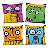 ShopMantra Cute Cartoon Faces Printed Cushion Cover Set Of 4 16*16 Inch Multicolor Cushion Cover