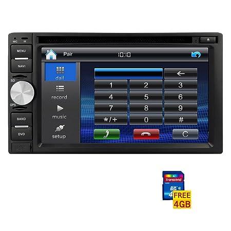 Electrš®nica 6,2 pulgadas Double Din transmisor GPS stšŠršŠo HD Transmisor de la pantalla tš¢ctil en el tablero de DVD del coche reproductor de CD Vehšªculo de radio AM FM Receptores Sam Auto