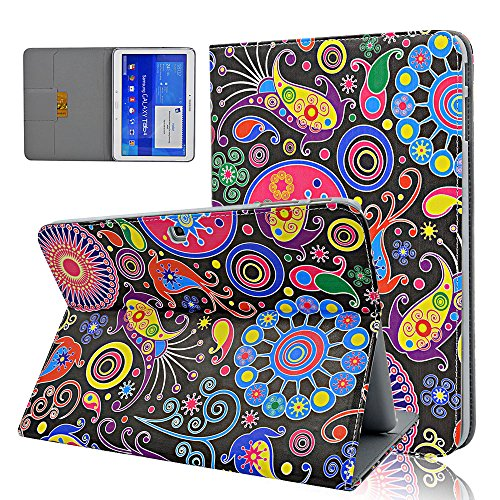 Review Seedan Folio Stand Case for Samsung Galaxy Tab 4 10.1 (10.1 inch, SM-T530 / T531 / T535) Colorful Graffiti Flip Leather Cover Skin with Card Holder