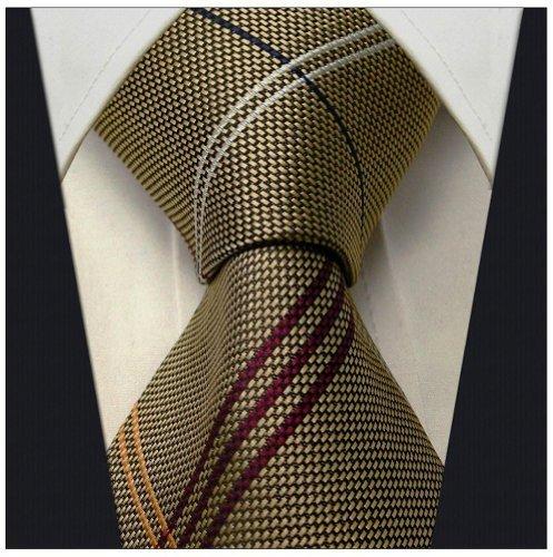 Scott Allan Mens Striped Necktie - Dark Khaki and Red (Scott Allan Red Ties compare prices)