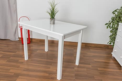 Massivholz Tisch 70x100 cm Kiefer, Farbe: Weiß