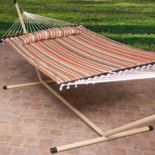 11 Ft Quilted Fabric Hammock Pillow Double Bamboo Wood Spreader Bars Dark Green