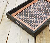 Geometrical print Moroccan pattern wooden tray resin finish lacquered frame no glass rectangle serving tray gift 10X15 inches