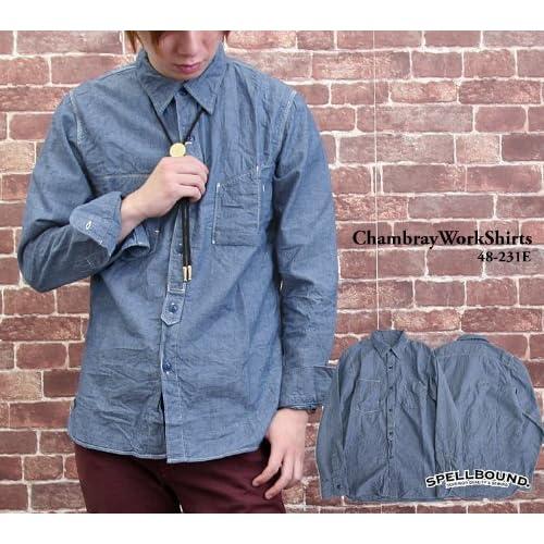 (スペルバウンド)SPELLBOUND シャンブレーワークシャツ(トップス・48-231e )(ドミンゴ・DMG) 2(M) ネイビー(29)