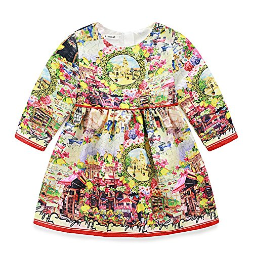 Big Girls Midi Dress with Quaint Firenze Printed for Prom 2-8T (7-8T) (Lil Girls Prom Dresses compare prices)