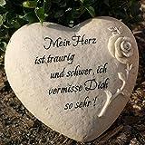 Trauerherz zum legen mit Gravur Inschrift - Mein Herz ist