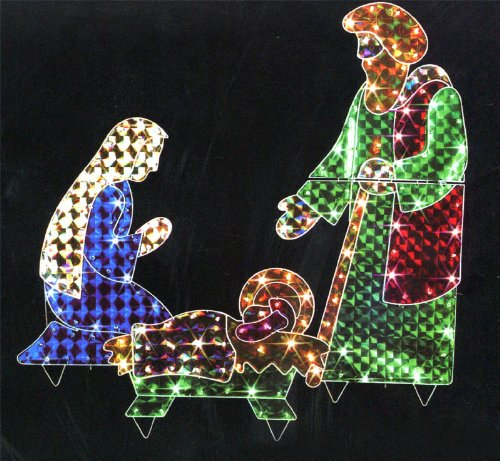 Lighted Holographic Two Snowman Carolers Christmas Outdoor: Nativity Scene Lighted Yard Displays