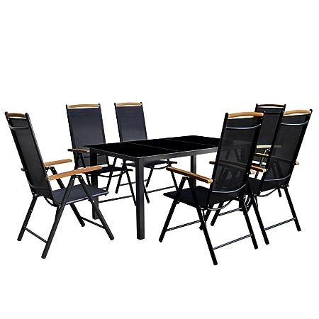 vidaXL Ensemble de mobilier jardin 7 pièces Aluminium Noir