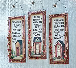 Primitive outhouse bathroom wall art set of for Bathroom paintings amazon