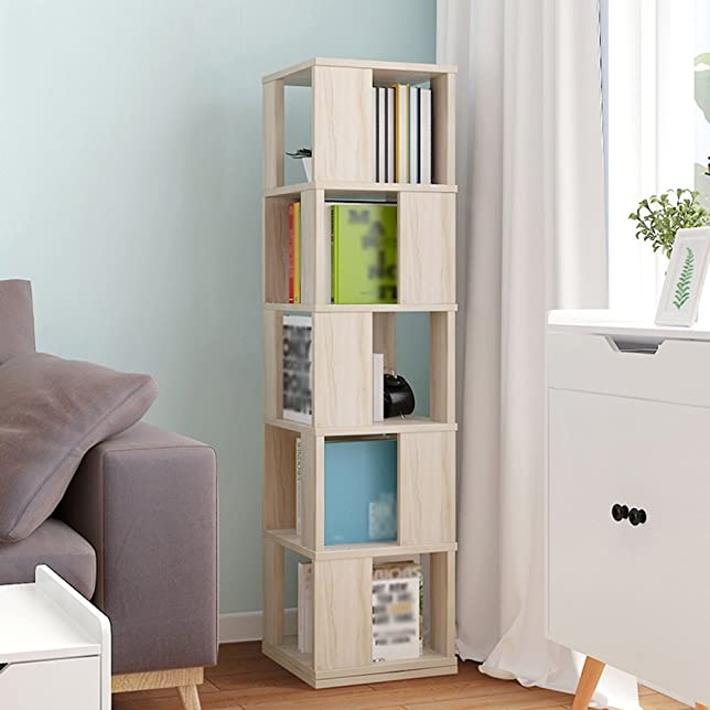 SUBBYE Mensole di stoccaggio Semplice Libreria Studente Libreria Creativa Libreria A 360 ° A Mensola Pavimentazione A Piano Multifunzione Dimensioni Dimensioni Facoltativa ( Colore : Color-1 , dimensioni : 5 layers )