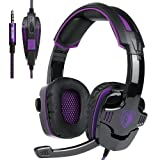 SADES SA-930 3.5mm Gaming Headsets with Microphone Noise Cancellation Music Headphones for PS4 New Xbox One Laptop Tablet PC Mobile Phones (Color: Black+Purple)